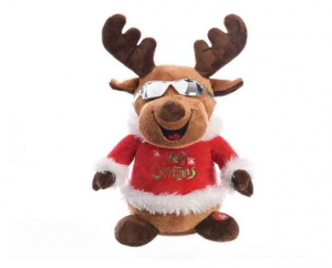 KAEMINGK Pes Mov Deer W Vetroes Stand Red Green Sings: Merry Christmas E Happy 413
