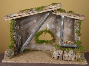 Hut Cm 40X20X28 Snow-covered Nativity scene - Hut Empty Christmas Gift 345