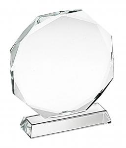 Trofeo in vetro ottagonale cm.11,8x11x3,2h diam.11