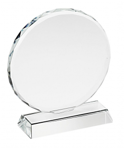 Trofeo in vetro tondo con bordo lavorato cm.11,8x11x3,2h diam.11