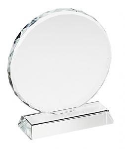 Trofeo in vetro tondo con bordo lavorato cm.9,8x9x3,2h diam.9