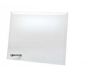Targa in vetro rettangolare con supporto cm.19x14