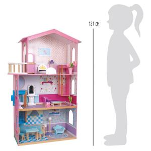 Casa delle bambole in legno con più ripiani e accessori