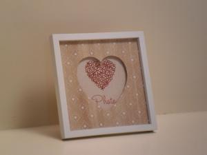 Portafoto quadrata in legno Cuore con bordo bianco stile Shabby Chic cm.16,5x16,5