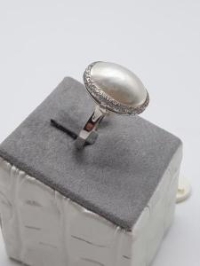 Anello Donna in oro bianco con perla Mabé, vendita on line | OROLOGERIA BRUNI Imperia