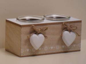Portacandele doppio in legno con decorazione 2 Cuori stile Shabby Chic cm.15,5x7,5x7h