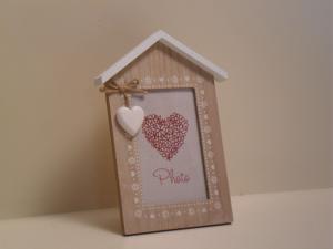 Portafoto Casa in legno con decorazione 1 cuore stile Shabby Chic cm.24x15