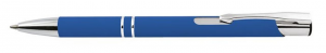 Penna in alluminio gommata blu cm.14x1x1h