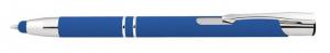 Penna in alluminio gommata blu con touch cm.14x1x1h