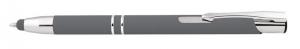Penna in alluminio gommata grigia con touch cm.14x1x1h