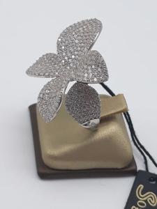 Anello Donna fiore in argento 925 e zirconi, vendita on line | GIOIELLERIA BRUNI Imperia