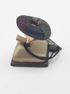 Anello Donna fantasia in argento ramato e pavé di zirconi multicolor, vendita on line | GIOIELLERIA BRUNI Imperia