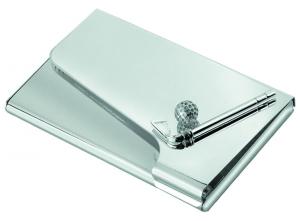 Portabiglietti da visita golf in silver plated cm.6,2x9,5x2h