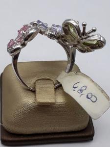 Anello Donna in argento con farfalle di zirconi colorati, vendita on line | GIOIELLERIA BRUNI Imperia
