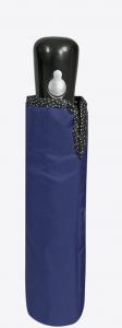 Ombrello Donna Automatico mini Blu con bordo nero a pois argento cm.54x diam.96