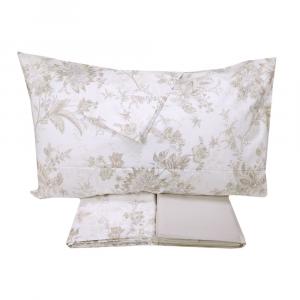 Set lenzuola matrimoniale 2 piazze ZUCCHI floreale beige percalle di cotone