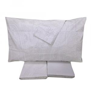 Set lenzuola matrimoniale 2 piazze ZUCCHI damasco grigio percalle di cotone