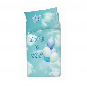 Set copripiumino per lettino con sponde BASSETTI BALLOON azzurro neonato