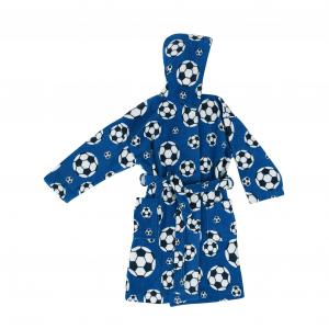 Accappatoio bimbo Bassetti GOAL blu in spugna con cappuccio