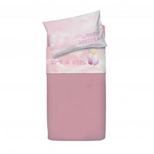Set lenzuola per lettino con sponde BASSETTI BALLOON palloncini neonato rosa