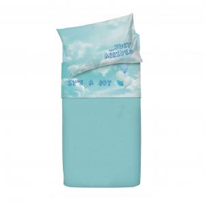 Set lenzuola per lettino con sponde BASSETTI BALLOON palloncini neonato azzurro