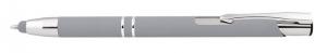 Penna alluminio gommata con touch color argento cm.14x1x1h