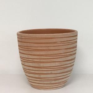 ANTICO MESTIERE Vaso basic rigato da esterno terracotta lavorato in terracotta