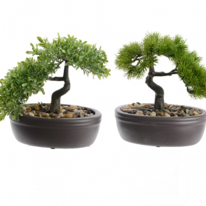 ZEN GARDEN Plc bonsai in pot 2ass variant fiori finti