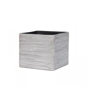CAPI EUROPE Planter square rib ivory vaso da interno lite material bianco