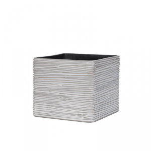 CAPI EUROPE Planter square rib ivory vaso da interno bianco 11X11X11