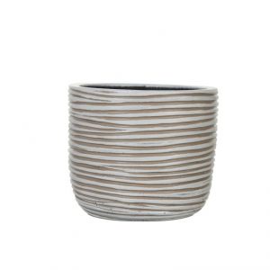CAPI EUROPE Egg planter ivory vaso da interno lite material bianco rigato 10X8,5