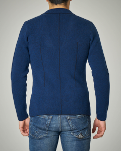 Giacca maglia blu royal con taschino