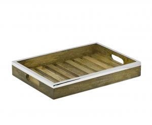 Vassoio rettangolare in legno e acciaio inox
