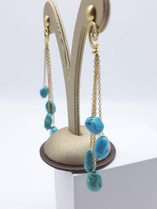 Orecchini pendenti in oro e turchese, vendita on line | GIOIELLERIA BRUNI Imperia