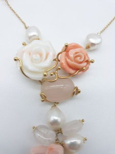 Collana rose di corallo e perle, vendita on line | GIOIELLERIA BRUNI Imperia