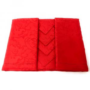 Tovaglia PIAZZA PITTI 160x230 cm in fiandra con 8 tovaglioli rosso Manuela