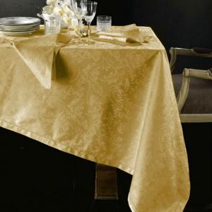 Tovaglia PIAZZA PITTI 160x230 cm in fiandra con 8 tovaglioli oro Manuela