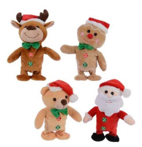 KAEMINGK Pes Repeat Walking Xmas Fig Bo Colour: Multi Size: 9X10X20Cm Peluche 912