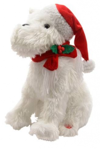 KAEMINGK Pes Singing Dog W Xmas Hat Bo Colour: White Size: 19X24X30Cm Peluche 135