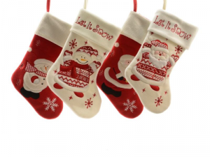 KAEMINGK Felt Stocking Teddy 4 assorted Color Assorted Size 45 cm Father Christmas - 825