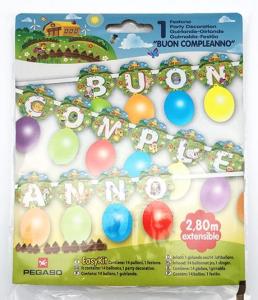 PEGASO Easy Kit Festone Fattoria Buon Compleanno Festoni E Ghirlande Party 798