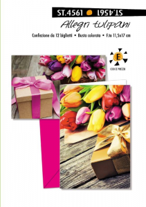 CROMO Biglietti Allegri Tulipani Senza Testo Confezione Da 12 Pezzi Biglietto 860