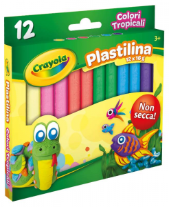 CRAYOLA Plastilina 12 Colori Tropicali Pasta Lavori Modellabile Cartoleria 671