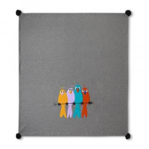 Plaid in pile 160x180 cm MaryPlaid Cinguettando insieme grigio idea regalo