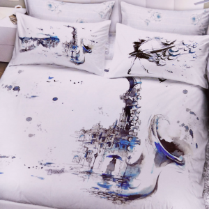 Set copripiumino matrimoniale 2 piazze Graphic Time 1853 bianco e blu