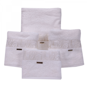 Set 5 asciugamani- 2 asciugamani+2 ospiti+1 telo Borbonese MARBLE avorio