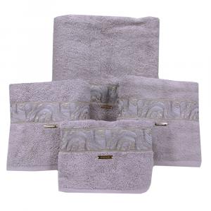 Set 5 asciugamani- 2 asciugamani+2 ospiti+1 telo Borbonese MARBLE nocciola