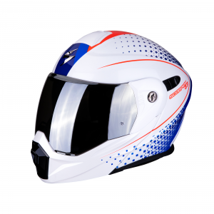 CASCO MOTO MODULARE SCORPION ADX- 1 HORIZON PEARL WHITE RED BLUE