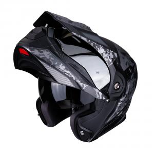 CASCO MOTO MODULARE SCORPION ADX-1 BATTLEFLAGE BLACK SILVER