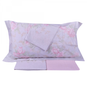 Set lenzuola matrimoniale 2 piazze Gabel HARMONY rosa floreale in percalle